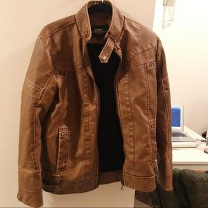 Jackets & Blazers - Unisex Brown Leather Jacket